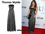 In Hilary Duff's Closet - Thomas Wylde Printed Stretch-Silk Strapless Jumpsuit