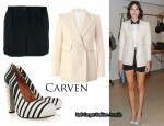 In Alexa Chung's Closet - Carven Blazer, Shorts & Striped Pumps