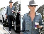 Double Denim Sidewalk Style: Charlize Theron In Current/Elliott & Rag & Bone