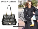 In Jessica Alba's Closet - Dolce & Gabbana Lace & Leather Bag
