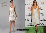In Eva Mendes Closet - Lela Rose Brocade V Neck Dress