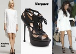 In Khloe Kardashian's Closet - Kimberly Ovitz Wesley Cowl Dress & Versace Lace-Up Sandals