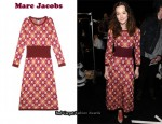 Leighton Meester In Marc Jacobs Silk Polka Dot Knit Dress