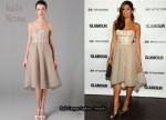 In Eva Mendes Closet - Lela Rose Embroidered Bustier Dress