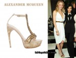 In LeAnn Rimes' Closet - Alexander McQueen Crepe Halter Dress & Alexander McQueen Flesh Fish Bone Platform Sandals