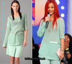 In Rihanna's Closet - Alexander Wang Mesh Stitch Combo Sweater