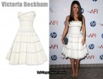 In Mila Kunis' Closet - Victoria Beckham Paint-Effect Cotton-Organdy Dress