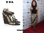 In Zoe Saldana's Closet - YSL Trybal Suede Wedge Sandals