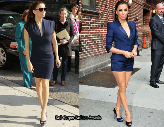 eva longoria letterman. Eva sported two navy looks