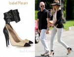 In Rosie Huntington-Whiteley's Closet - Isabel Marant Gava cotton-raffia and leather pumps