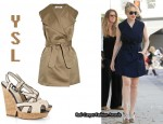 In Kylie Minogue's Closet - YSL Trench Dress & YSL Deauville Canvas Wedge Sandals