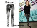 In Saoirse Ronan's Closet - Balmain Sequin Stripe Cropped Jeans