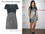 In Camilla Belle's Closet - Victoria Beckham Two-Tone Silk-Lamé Dress