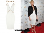 In Charlize Theron's Closet - Versace Patent-Trimmed Cotton-Piqué Dress