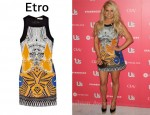 In Jessica Simpson's Closet - Etro Printed Silk Mini Dress & Giuseppe Zanotti La Rocque wedges