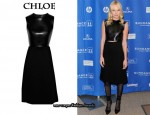 In Kate Bosworth's Closet - Chloe Leather and Wool-Crepe Dress