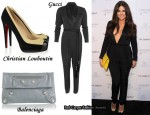 In Khloe Kardashian's Closet - Gucci Jumpsuit, Christian Louboutin David Delfin Suede and Leather Pumps & Balenciaga Envelope Clutch