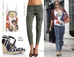 In Kristen Bell's Closet - Stella McCartney Print Top, J Brand Cargo Pant & Tory Burch Wedges