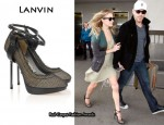 In LeAnn Rimes' Closet - Lanvin Leather-Strapped Fishnet and Mesh Pumps