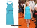 In Lorraine Nicholson's Closet - Versace PVC-Paneled Silk-Crepe Dress