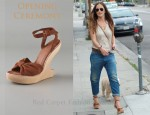 In Minka Kelly's Closet - Opening Ceremony Violet Knot Wedge Sandals