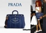 In Rihanna's Closet - Prada Denim Logo Tote