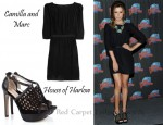 In Ashley Tisdale's Closet - Camilla and Marc Blind Call Silk Mini Dress & House Of Harlow Peep-Toes