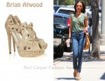 In Zoe Saldana's Closet - Brian Atwood Claudette Studded Suede Sandals