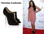 In Jennifer Hudson's Closet - Christian Louboutin Zipito Suede Peep-Toe Ankle Boots
