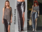 In Rihanna's Closet - Helmut Lang Asymmetrical Top, Helmut Lang Skirt & Christian Louboutin 'Luxura' Ankle Strap Pumps