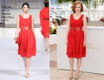 "Jessica Chastain In Oscar de la Renta - 2011 Cannes Film Festival ""The Tree Of Life"" Photocall"