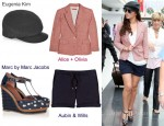In Cheryl Cole's Closet - Eugenia Kim Gary Cap, Alice + Olivia Checked Blazer, Aubin & Wills Corsbie Shorts and Marc by Marc Jacobs Spotted Wedges
