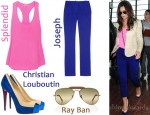 In Cheryl Cole's Closet - By Malene Birger Jacket, Splendid Tank, Joseph Cropped Pants, Christian Louboutin Mago Pumps, Ray-Ban Sunglasses