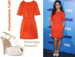 In Cheryl Cole's Closet - Giambattista Valli Orange Dress & Giuseppe Zanotti T-Bar Sandals