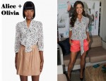 In Denise Richards' Closet - Alice + Olivia Arie Tied Collar Blouse