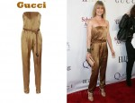 In Ellen Pompeo's Closet - Gucci Strapless Silk Satin Jumpsuit