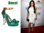 In Kim Kardashian's Closet - Gucci Suede & Glossed-Python Sandals