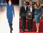 Jennifer Lopez In Zac Posen - Simon Fuller Hollywood Walk Of Fame Induction Ceremony