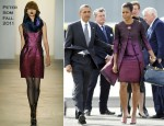 Michelle Obama In Peter Som - Stansted Airport