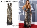 In Miley Cyrus' Closet - Roberto Cavalli Animal-Print Sequined Tulle Gown