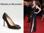 In Elizabeth Olsen's Closet - Manolo Blahnik Hangisi Jewel Satin Pumps