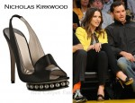 In Sophia Bush's Closet - Nicholas Kirkwood Black Satin Peep Toe Penny Loafer Slingbacks