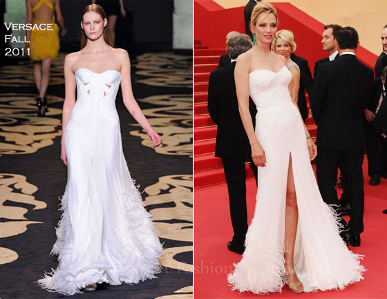 7bed3ca4c88 Uma Thurman wowed the crowds at the Opening Ceremony of the 2011 Cannes  Film Festival wearing her second white hot look of the day.