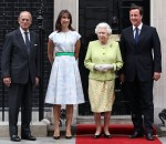 Samantha Cameron In Jonathan Saunders - Prince Philip's Birthday Lunch @ 10 Downing Street