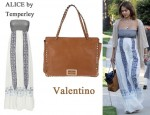 In Jessica Alba's Closet - ALICE by Temperley Aline Embroidered Cotton Maxi Dress & Valentino 'Rockstud' Bag