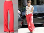 In Eva Mendes' Closet - Alice + Olivia Coral Pants & Prada Sunglasses