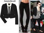 In Kim Karashian's Closet - Antonio Berardi Silk-Satin and Crepe Jacket & 7 For All Mankind Gwenevere Super Skinny Knit Pants