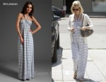 In January Jones' Closet - Splendid Cotton Mesh & Chambray Stripe Halter Maxi Dress