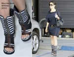 Sidewalk Style: Salma Hayek's Balenciaga Shoes & Bottega Veneta Bag