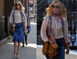 Sidewalk Style: Claudia Schiffer's Stella McCartney Skirt & Salvatore Ferragamo Bag